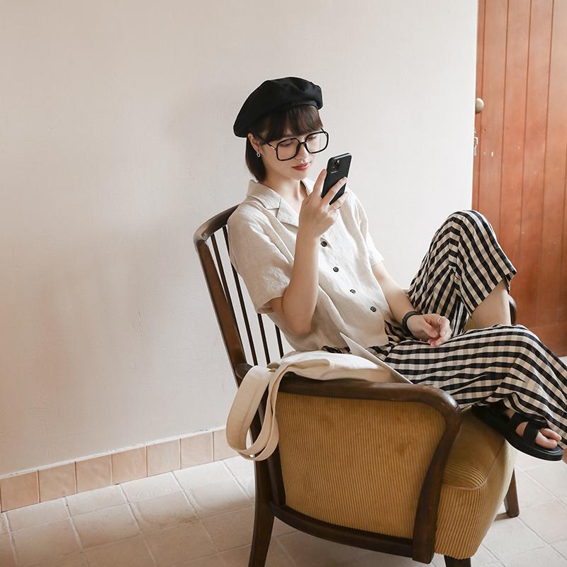 叙旧格子衬衫女夏季设计感小众修身薄款棉麻短袖上衣衬衣C1695
