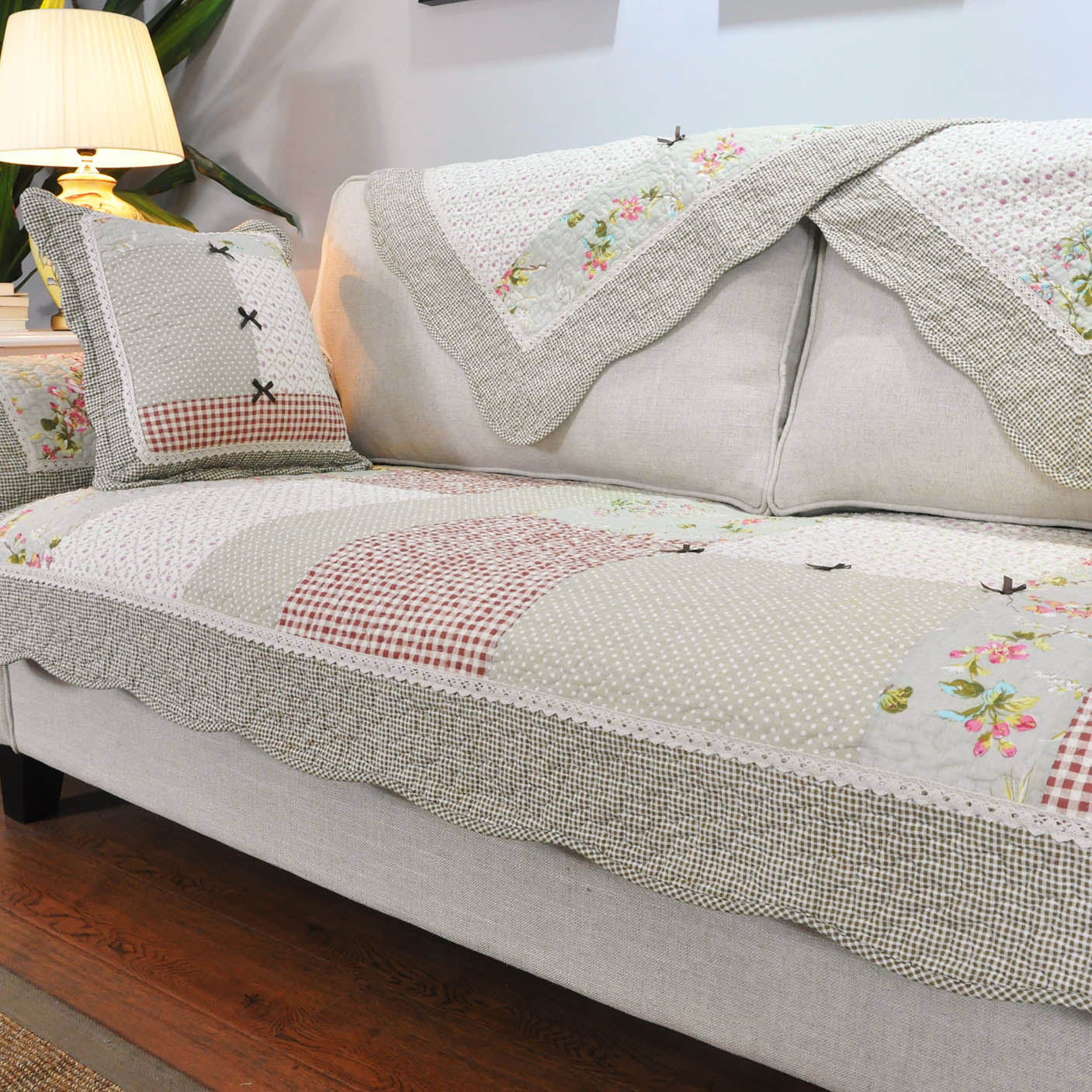 田園純棉拼布布藝 家用客廳四季通用全棉防滑沙發墊子 坐墊套罩