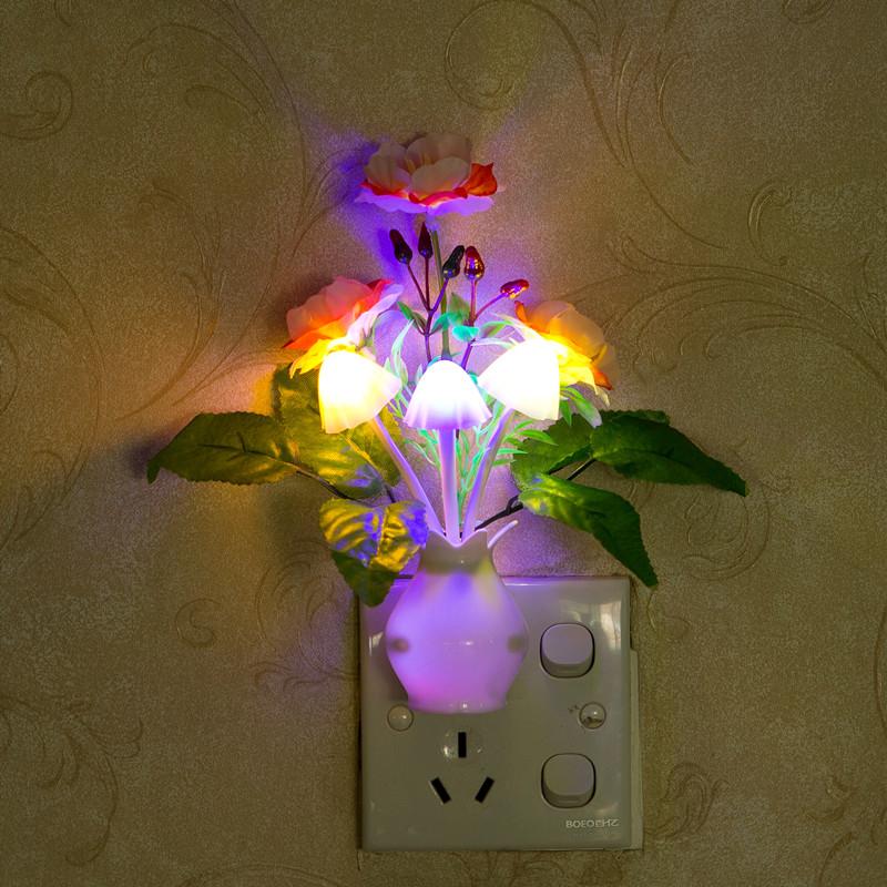 小夜灯石榴花三头床头儿童创意卧室灯婴儿喂奶变色蘑菇灯 LED 感光