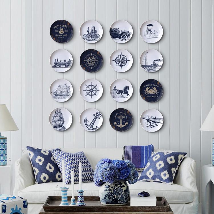 地中海墙壁挂饰客厅墙壁饰挂件餐厅墙面装饰相框墙组合陶瓷挂盘