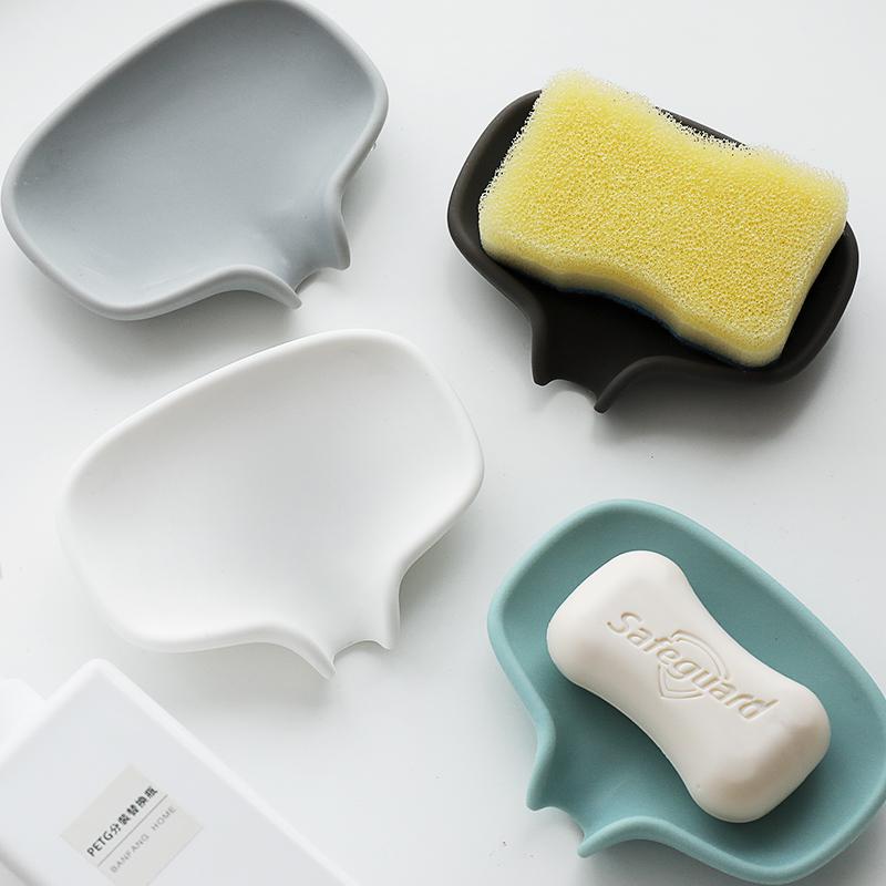 导流式香皂盒沥水硅胶肥皂盒家用创意浴室洗漱台可爱防滑排水皂托