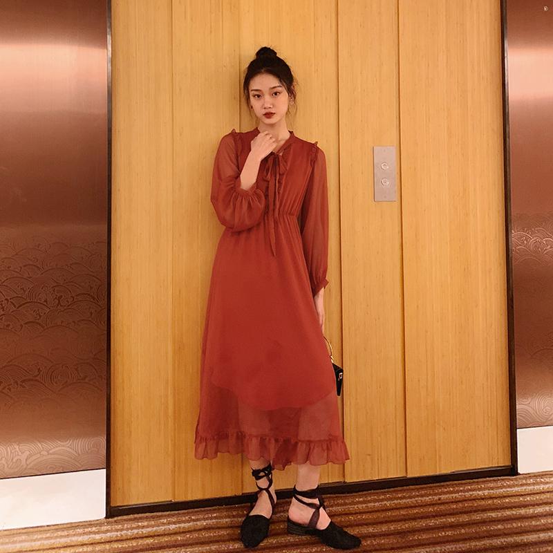 梅子熟了红色雪纺连衣裙很仙的法国小众桔梗裙复古超仙女裙长袖春