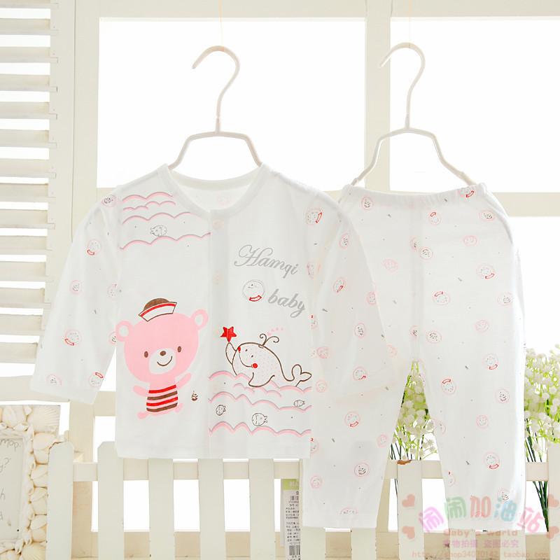 哈咪奇夏装超薄竹纤维婴儿长袖空调服哈米奇宝宝开衫睡衣内衣套装