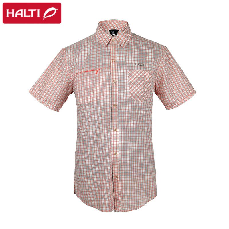 HALTI哈爾迪 戶外男款速幹襯衫短袖 快乾透氣襯衣 H0563248