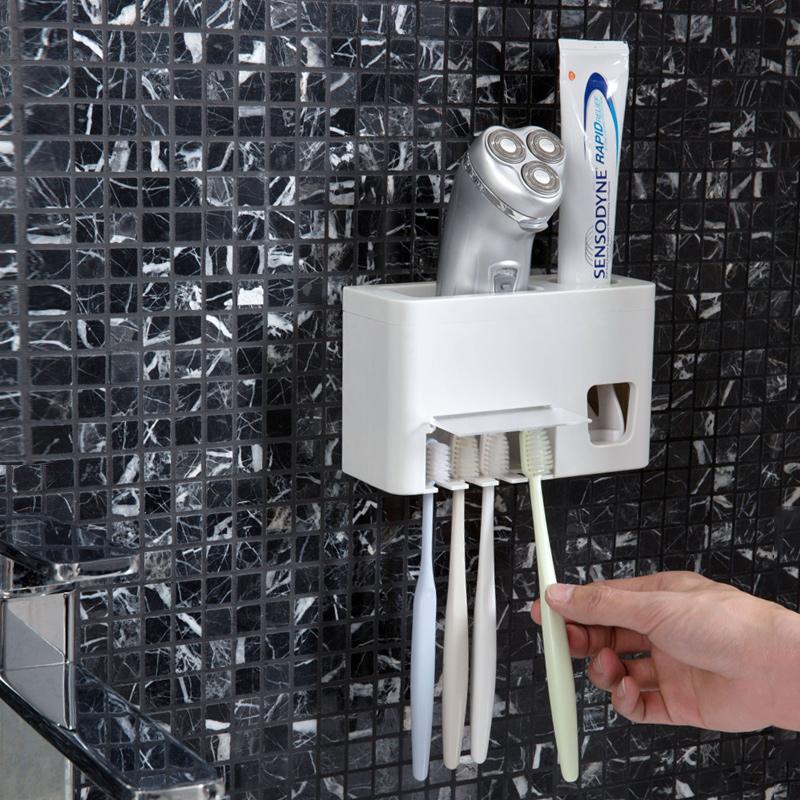 居家家全自动挤牙膏器套装创意家用牙膏架置物架卫生间壁挂牙刷架