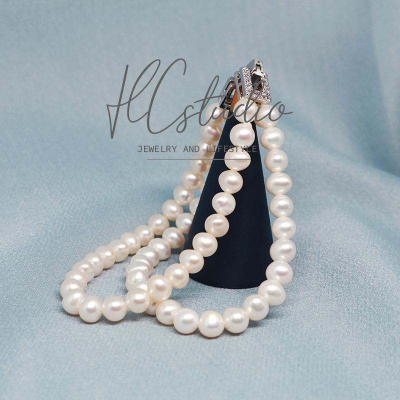 真淡水珍珠双层手链百搭多层手串英式宫廷复古经典饰品手饰基础款
