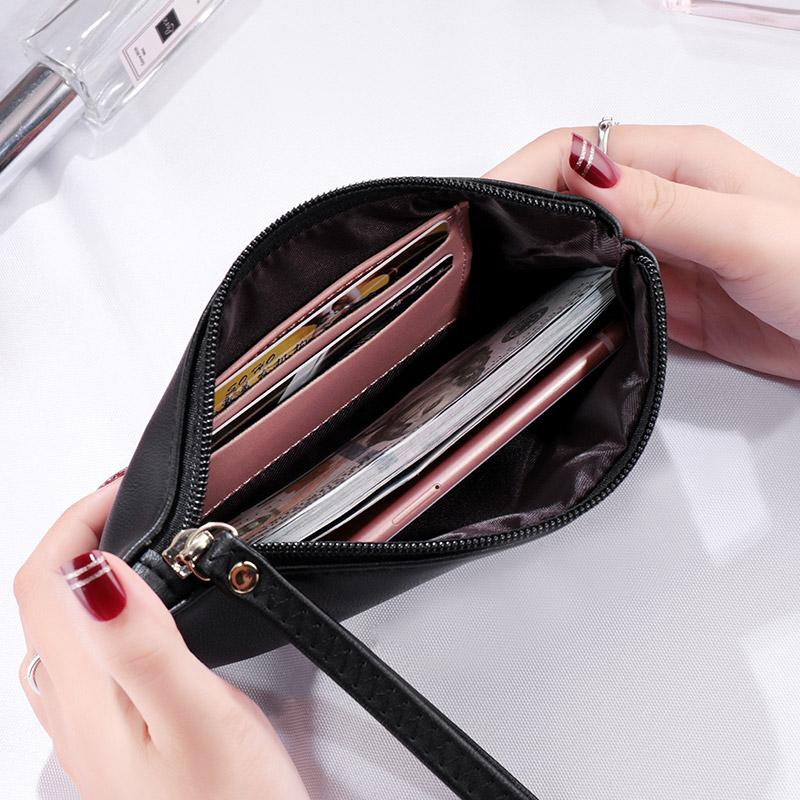 新款女士钱包长款女钱包时尚简约多功能拉链手包零钱手提钱夹 2021