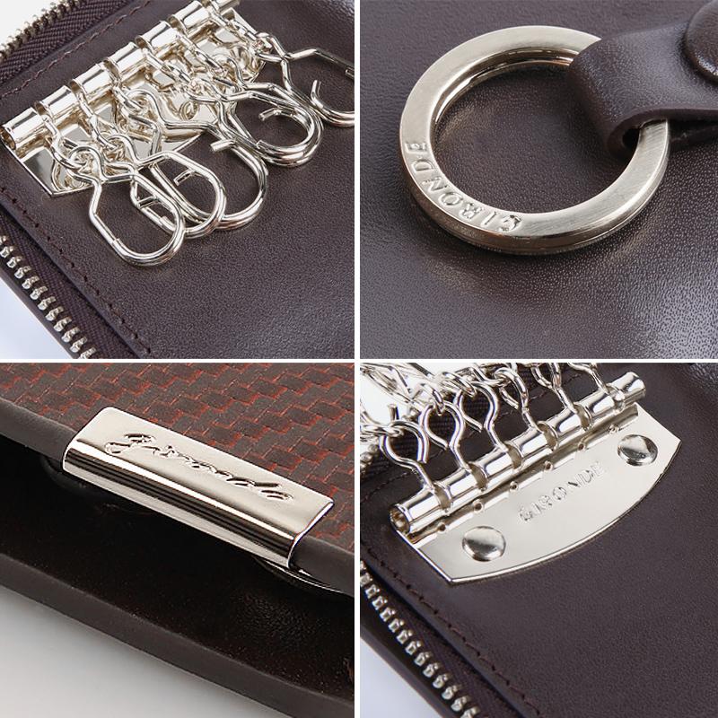 纪龙德钥匙包男拉链卡包汽车用牛皮多功能创意大容量女锁匙包男士