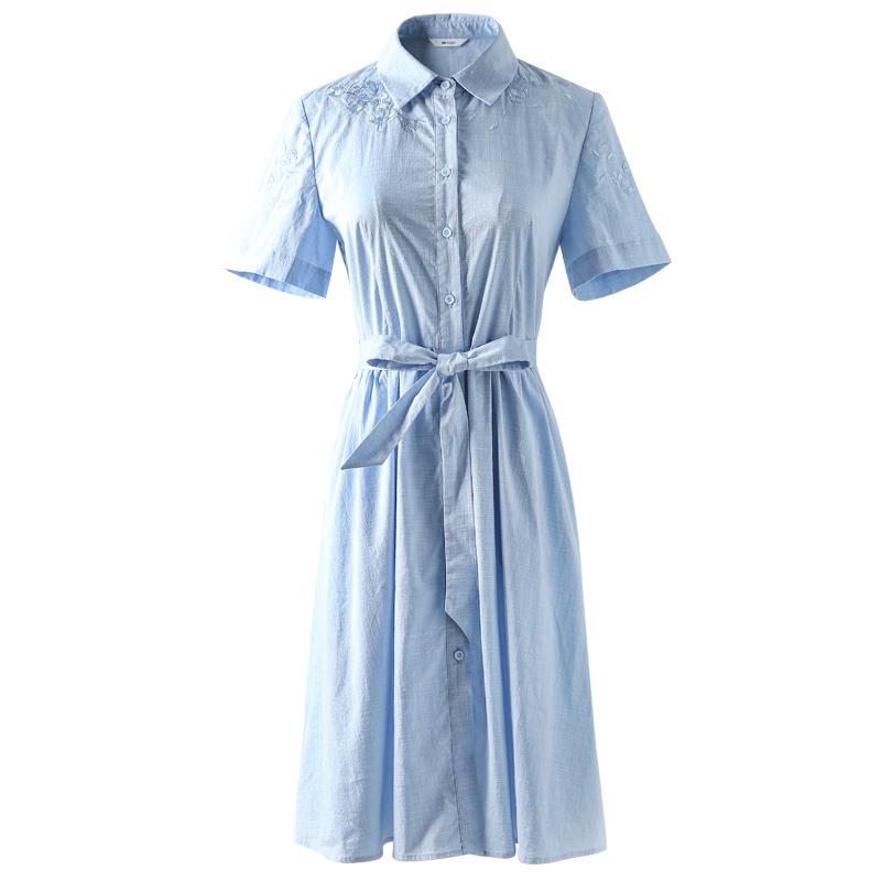 棉麻连衣裙女夏短袖棉立方2019新款韩版中长款刺绣衬衫小清新裙子