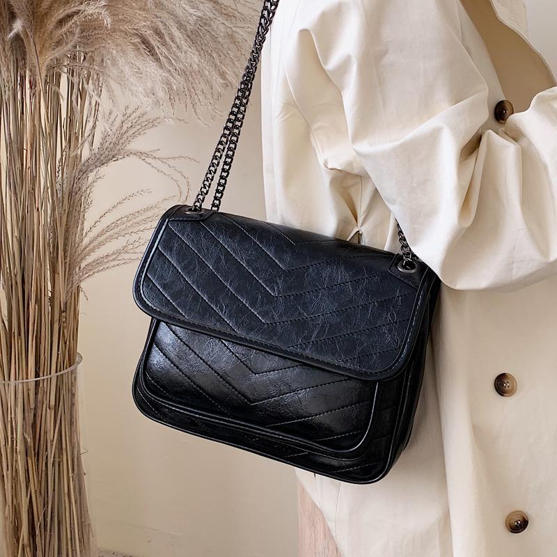 新款潮韩版百搭质感斜挎包时尚单肩包 2019 高级感包包洋气女士包包