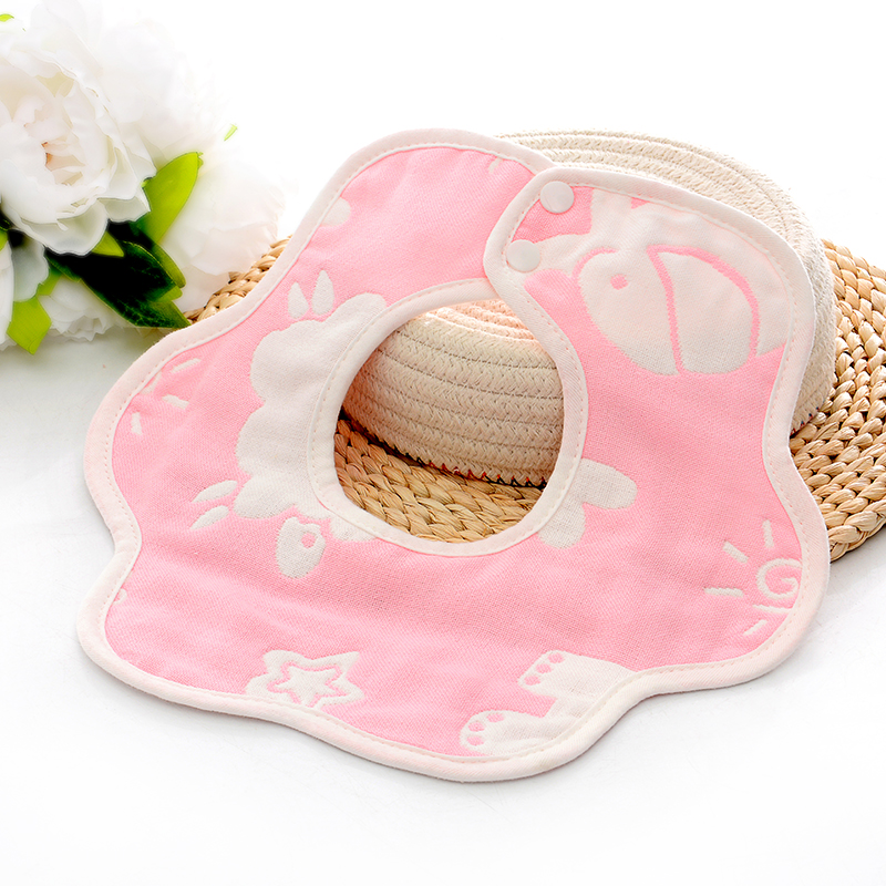 新生婴儿童围嘴纯棉纱布360度旋转花瓣宝宝全棉围兜防吐奶口水巾