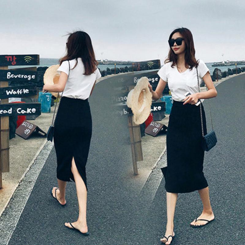 瘦黑色一步裙半身裙子