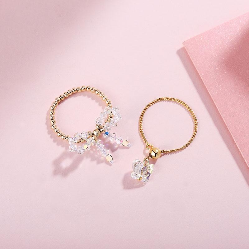 奥地利水晶原创指尖戒指指环抽拉可调节手饰蝴蝶结甜美清新个姓女
