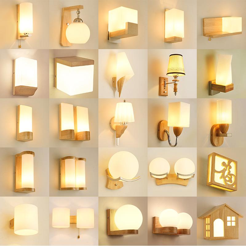 北欧床头壁灯LED现代简约创意实木艺卧室客厅过道走廊酒店墙灯具