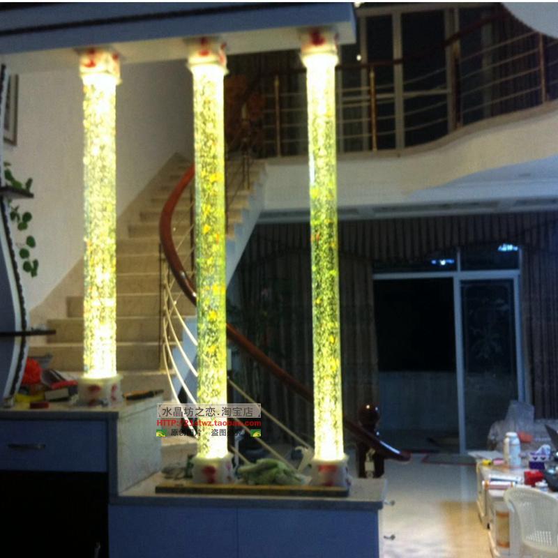 精磨3D内雕水晶气泡柱玻璃柱 水晶柱 隔断客厅玄关气泡方圆柱装潢