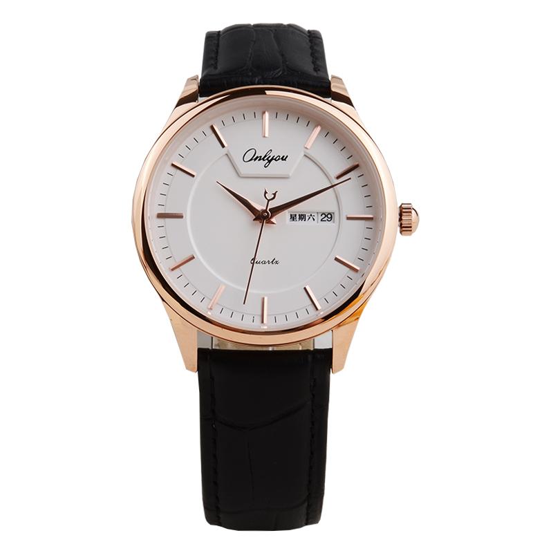 2019 新款休闲时尚日历男士腕表潮流皮带石英表 正品奥利妮男士手表