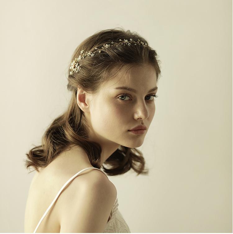 热销香槟金色欧美奢华珍珠串珠发带新娘礼服婚纱跟妆头饰品
