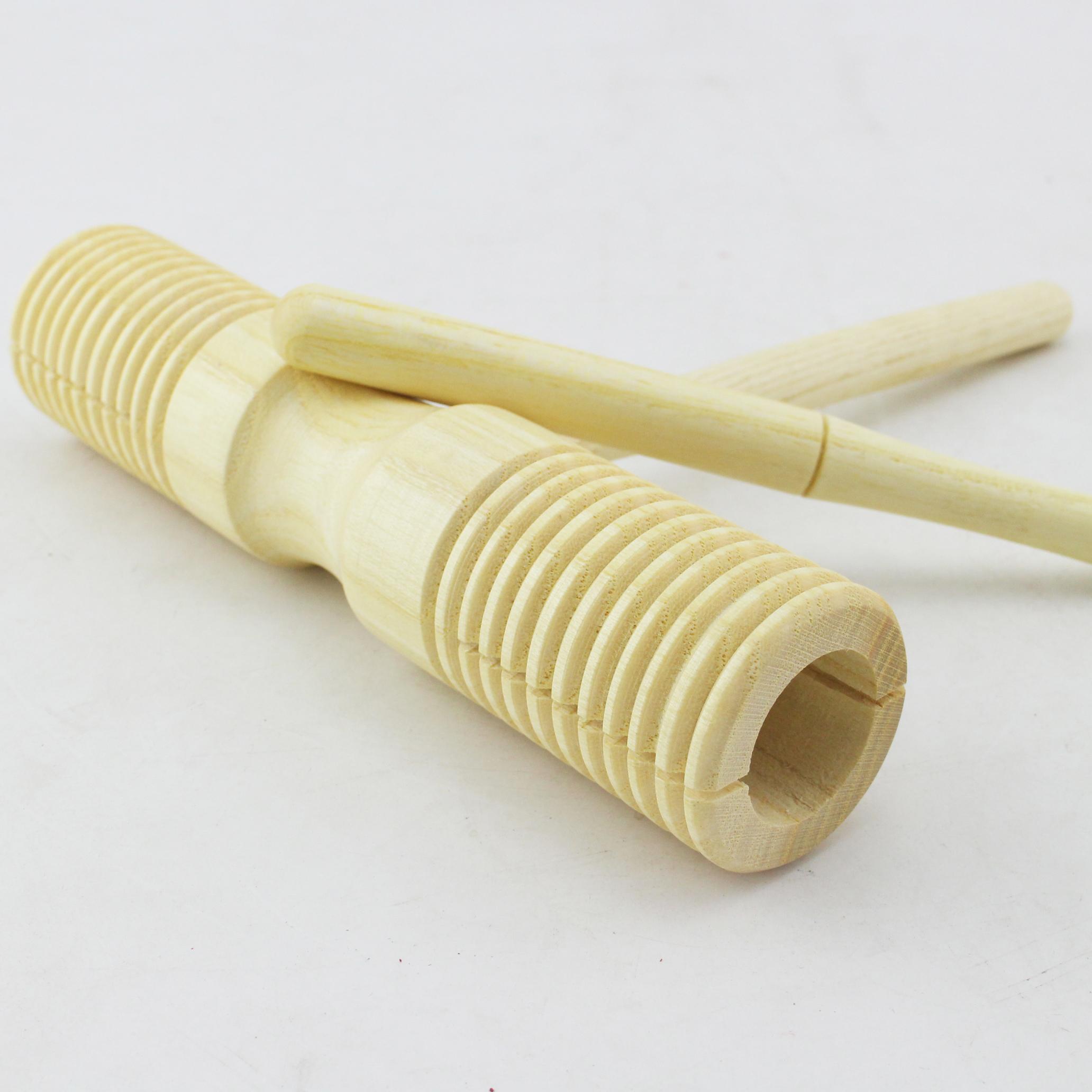 新品奥尔夫乐器正品螺纹响筒加沟双响筒可做刮蛙益智玩具教具