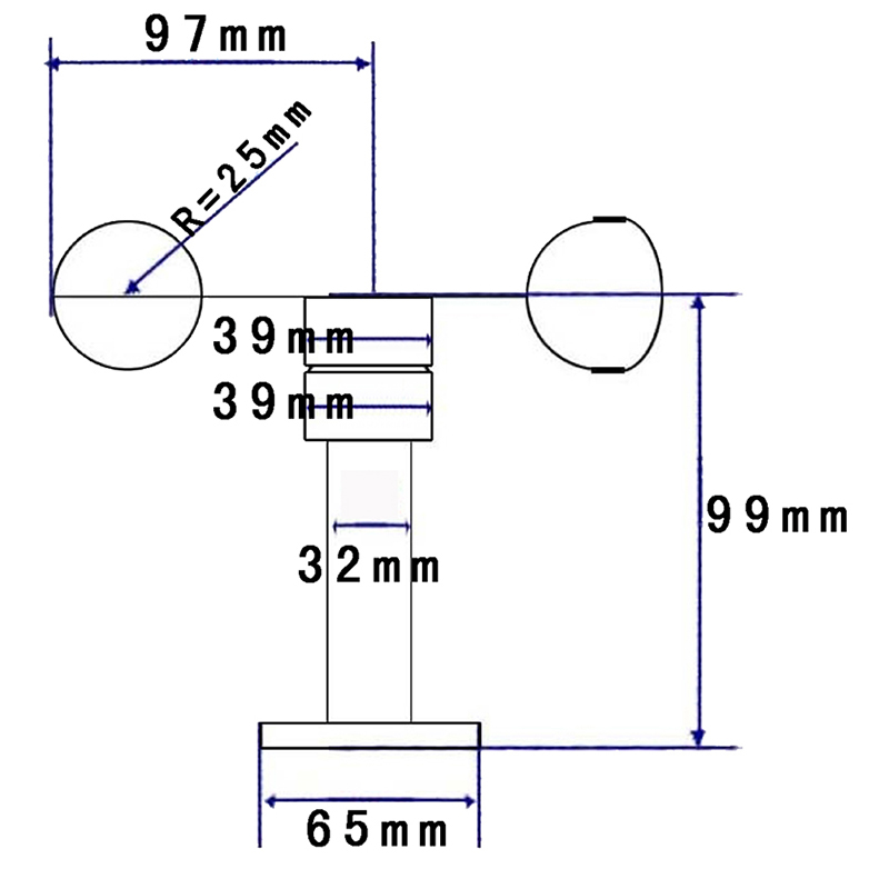 测风速仪变送器0-60m/s高精度485三杯一体式风速风向计传感器
