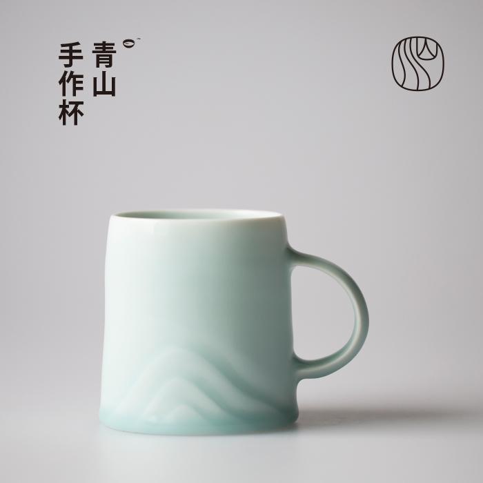 山水間青山景德鎮手工陶瓷馬克杯家用文藝杯子女男情侶杯對杯定製
