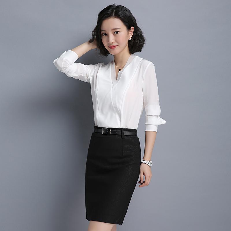 白色雪纺V领衬衫女长袖薄款时尚气质女神范别致小上衣工作服女夏主图