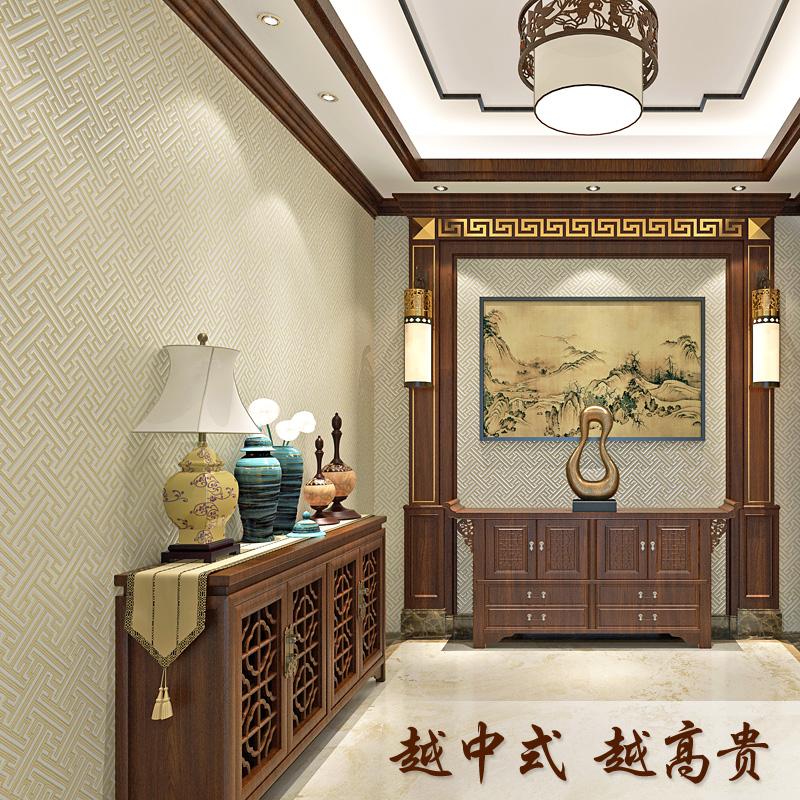 现代中式墙布新中国风无缝壁布古典雅韵高档卧室客厅简约迷宫回纹
