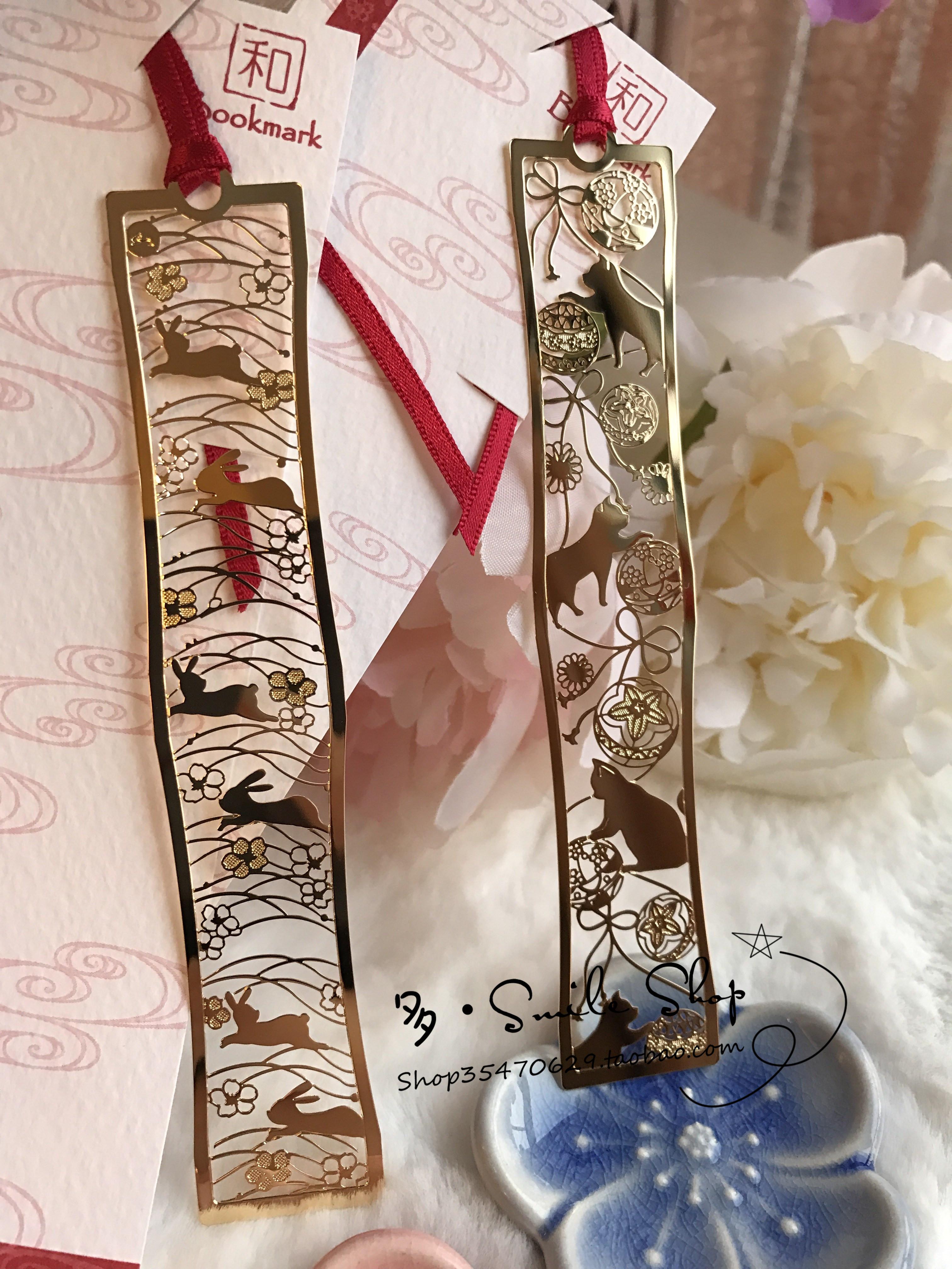 唯美浪漫兔子樱花猫咪球书签现货日本超精美精工24k镀金镂空雕花