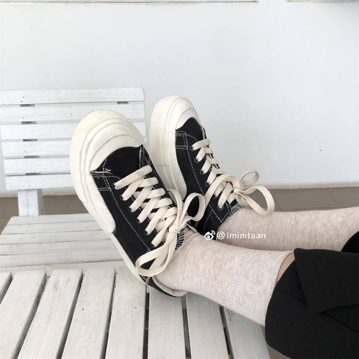 原宿运动鞋女夏 ulzzang 韩版复古港风帆布鞋低帮百搭 2019 陆小团团