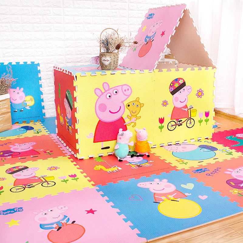 佩奇小豬嬰兒童卡通泡沫地墊板拼接爬行墊爬爬墊拼圖迪士尼60x60
