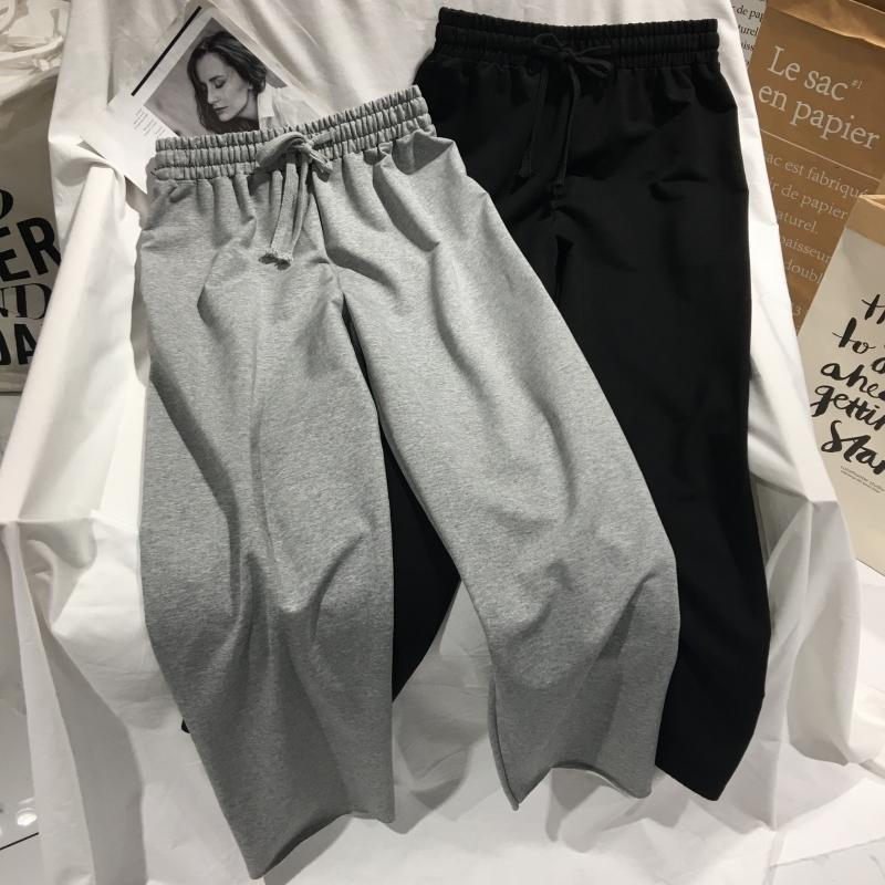 灰色运动卫裤女秋季薄款宽松显瘦百搭休闲裤直筒阔腿裤松紧腰长裤