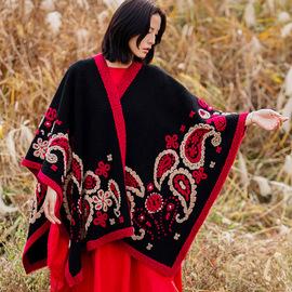 民族风羊毛披肩女秋冬斗篷外套超大围巾旅游加厚保暖冬季外搭披风