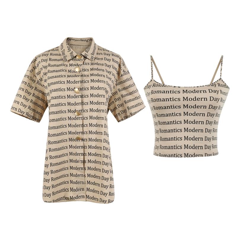 字母打底+字母短袖衬衫