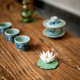 Zen incense tea tea pet hands pinch ceramic flower decoration lotus lotus leaf lotus ceramic can raise white lotus water lily