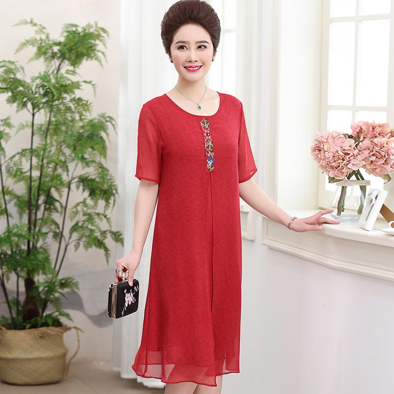 时尚韩版中年妈妈装两件套装外套搭配连衣裙 夏新款女装外套 2019