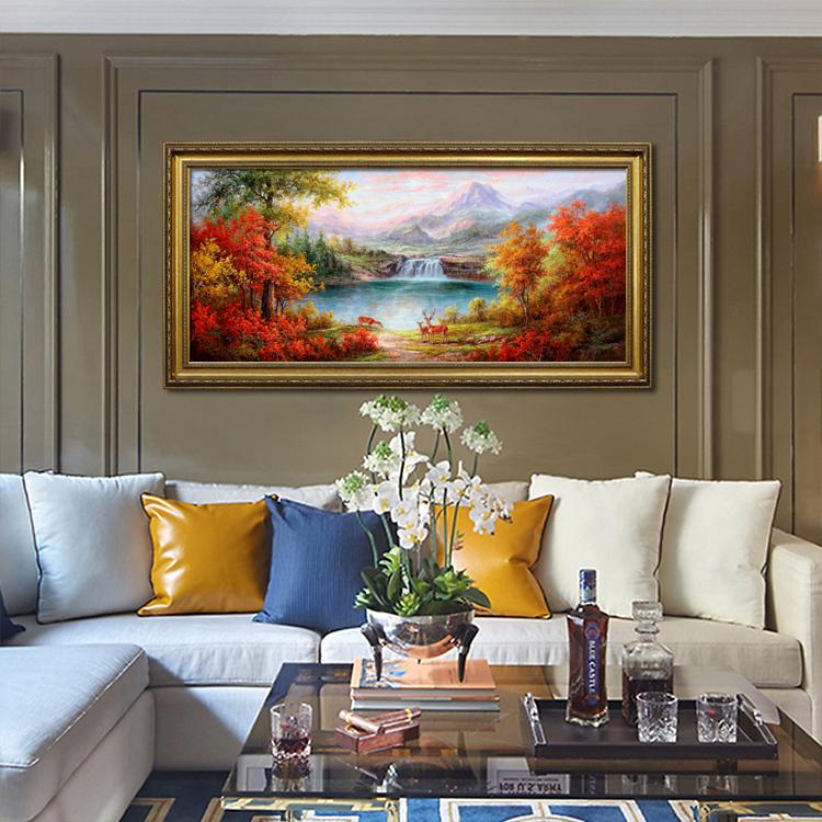 美式客廳山水瀑布風景聚寶盆油畫三只鹿歐式沙發背景中式裝飾掛畫