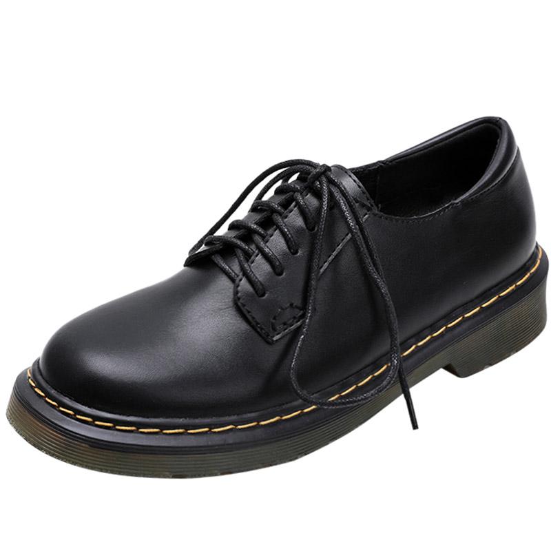 小皮鞋女英伦风2020冬季新款黑色平底加绒女鞋真皮复古系带女单鞋主图