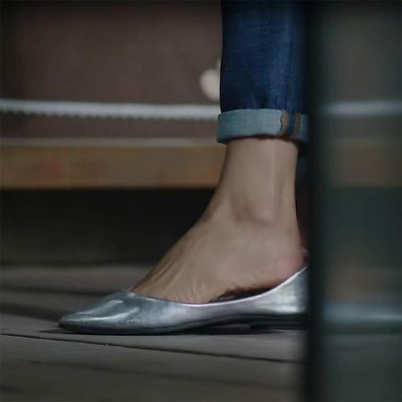 2019新款夏季新款银色浅口单鞋软底平底鞋女鞋小尖头大码百搭瓢鞋