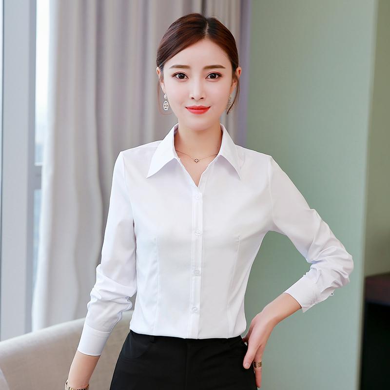 白衬衫女长袖2019春秋加绒韩版职业装工装修身显瘦工作服打底衬衫 - 图0