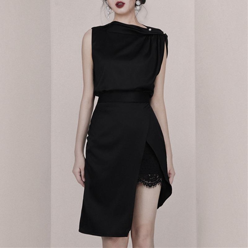泰国潮牌小香风套装女夏季赫本风斜肩蕾丝裙子收腰显瘦礼服两件套【图2】