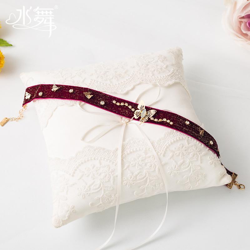 水舞新娘项链超仙酒红色缎带花朵颈链耳环套装复古礼服配饰 D0960