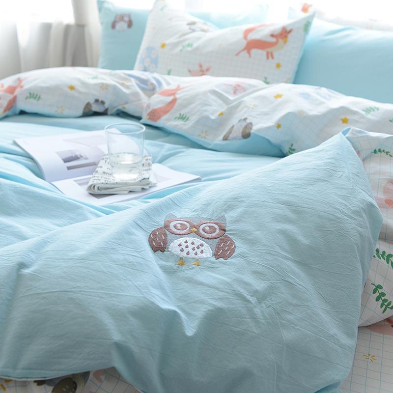 北欧简约风日式网红款水洗棉刺绣四件套全棉纯棉床单被套床上用品