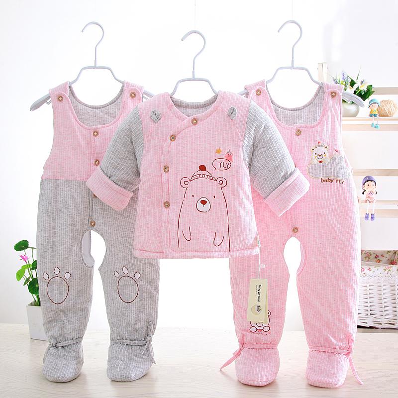 婴儿冬装套装加厚新生儿衣服棉袄0-1岁秋冬季男女宝宝棉衣三件套