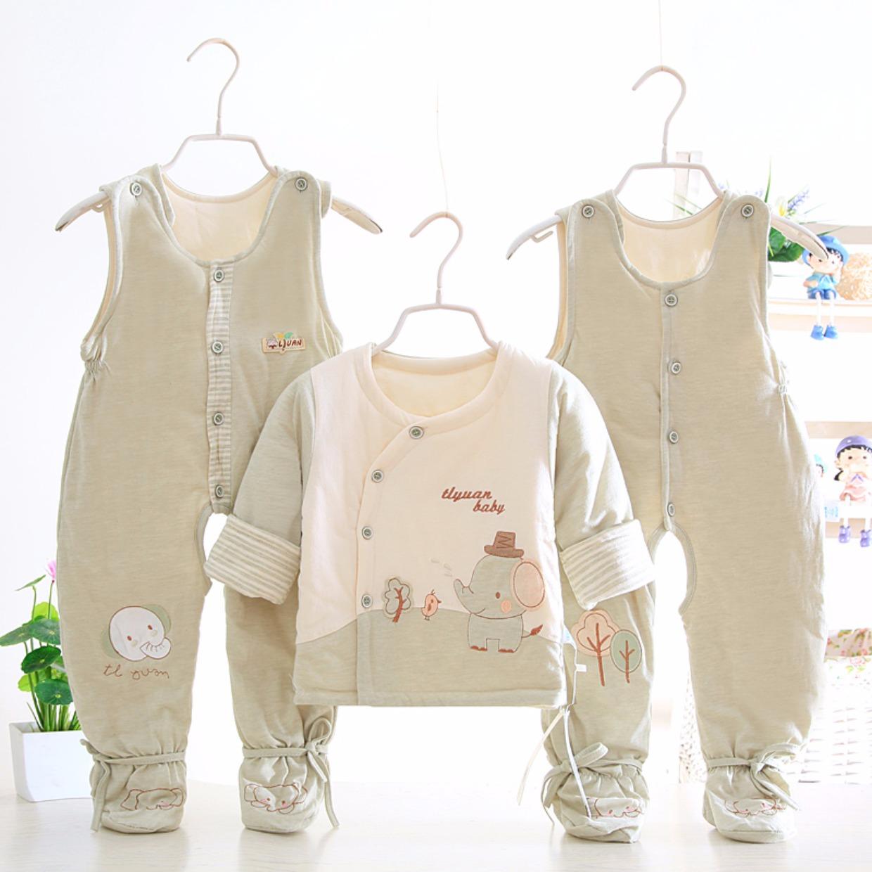 宝宝薄棉套装春秋季3-6个月新生儿男女夹棉衣1岁婴儿背带裤三件套