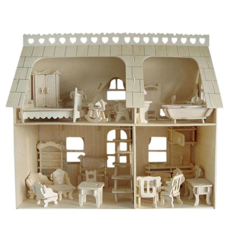 木质拼装建筑模型DIY小屋房子迷你小家具过家家立体组装益智玩具
