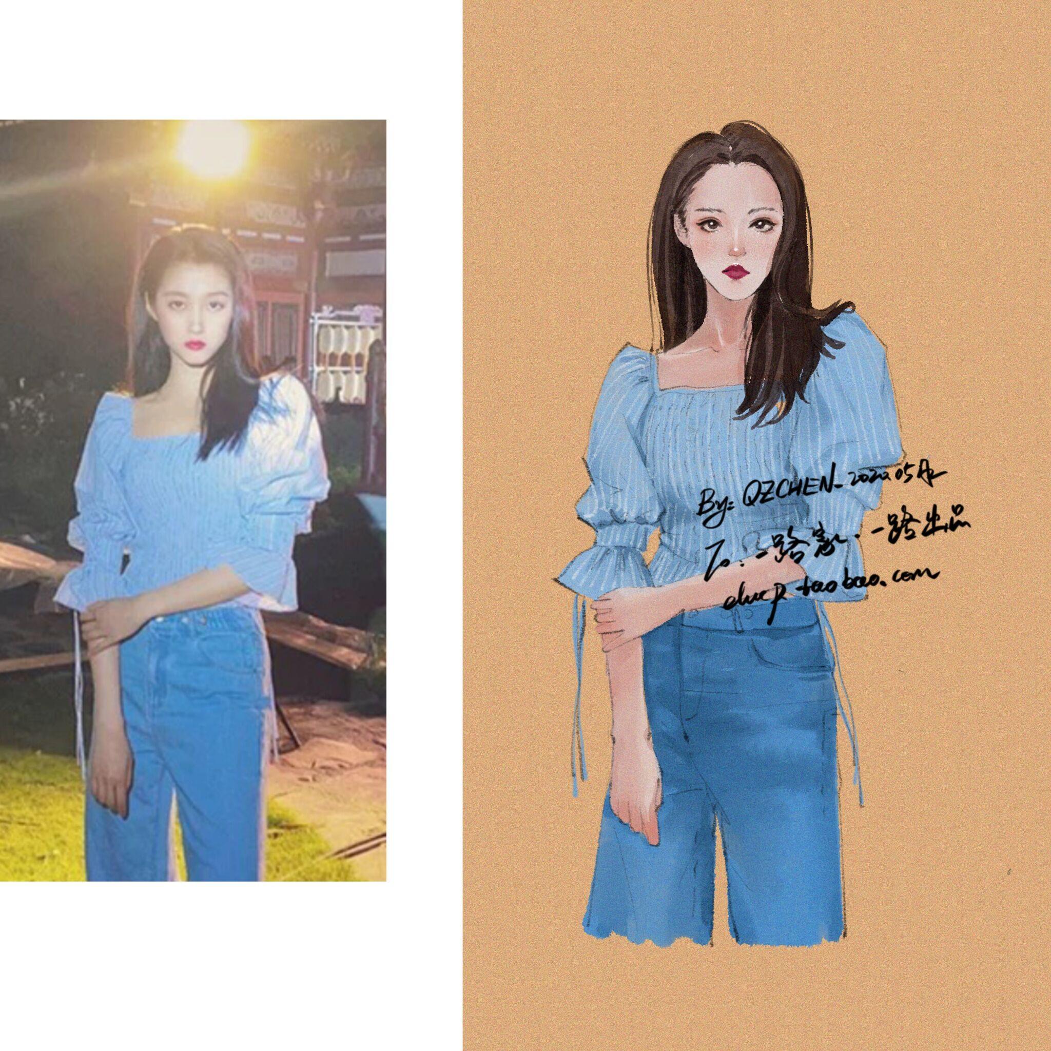 现货关晓彤同款方领法式设计感条纹衬衫短款泡泡袖上衣小众轻熟风