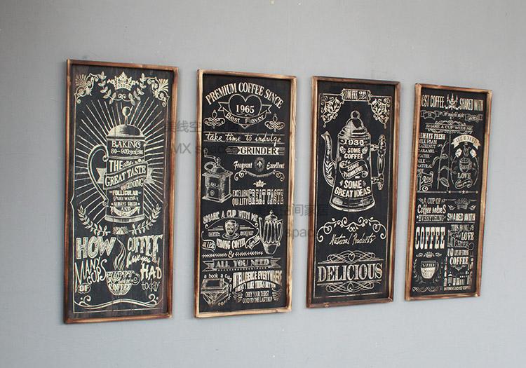 美式乡村复古实木咖啡红酒文化炭化木挂画 咖啡厅西餐厅装饰画