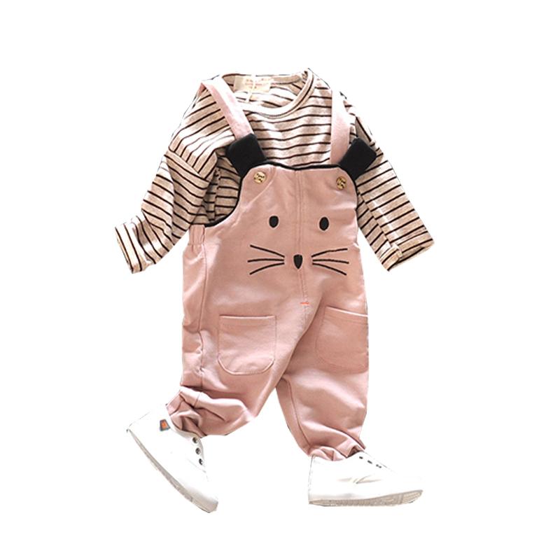 2019新款女童秋装条纹套装1-2-3-4岁女宝宝洋气背带裤长袖两件套