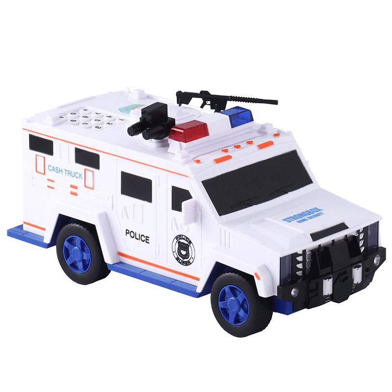 运钞车存钱罐儿童汽车玩具警车密码箱男孩卡通大容量储钱储蓄盒子