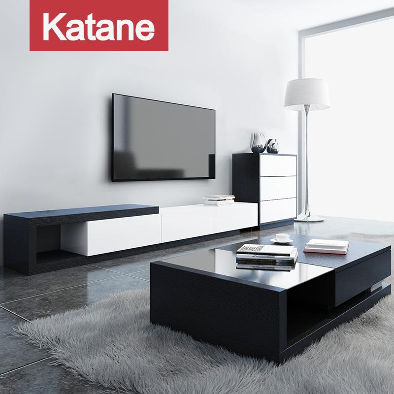 北歐現代簡約鋼化玻璃茶几電視櫃組合客廳實木貼皮背景牆套裝傢俱