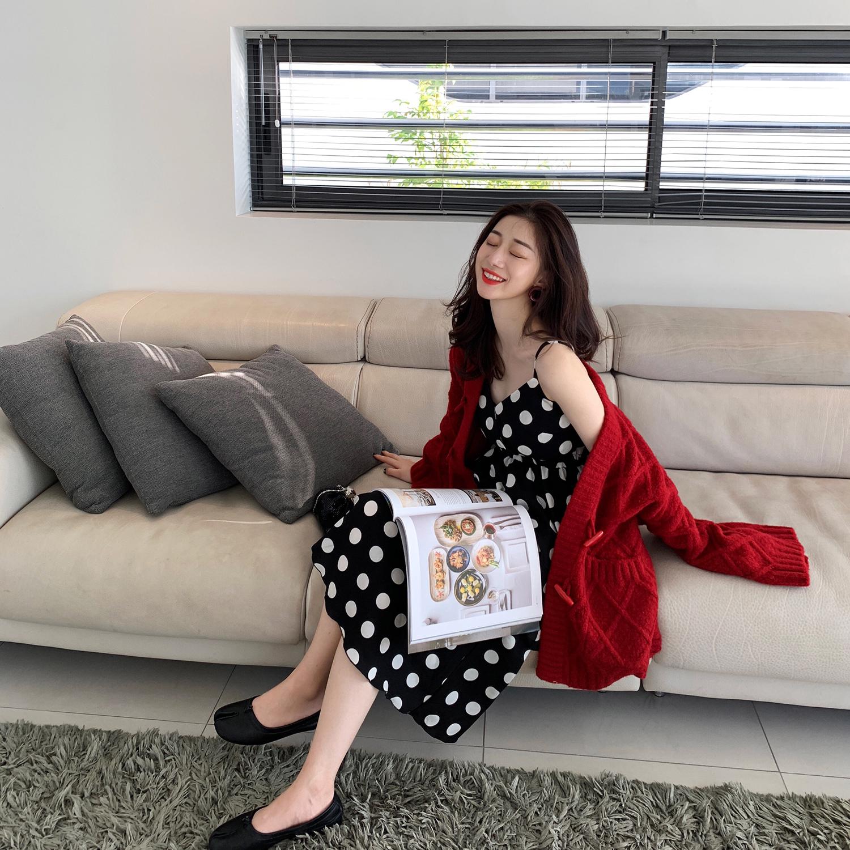 2019新款春装性感女装裙子波点长裙吊带连衣裙夏网红仙女蛋糕裙春